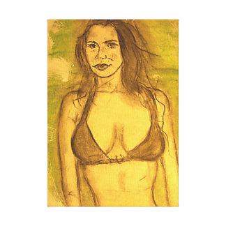 bikini girl art canvas print