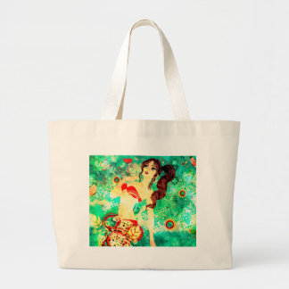 Bikini Girl on Grunge Green Background 2 Large Tote Bag