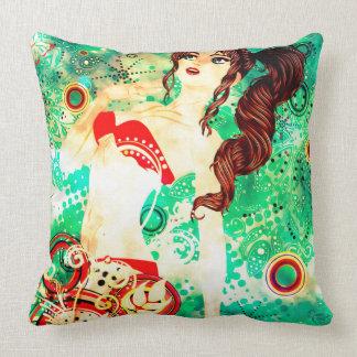 Bikini Girl on Grunge Green Background 2 Throw Pillow