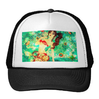 Bikini Girl on Grunge Green Background 2 Trucker Hat