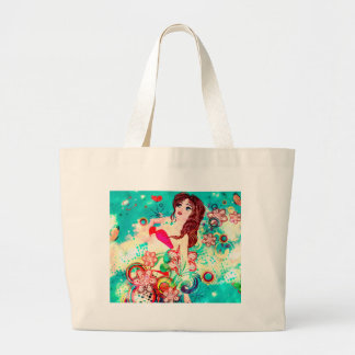 Bikini Girl on Grunge Green Background Large Tote Bag