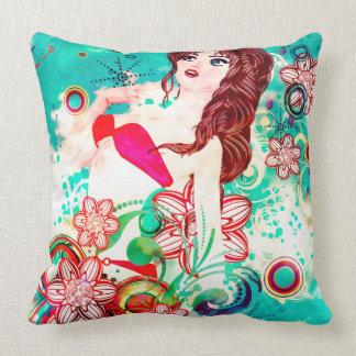 Bikini Girl on Grunge Green Background Throw Pillow