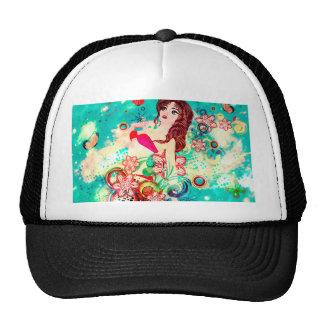 Bikini Girl on Grunge Green Background Trucker Hat