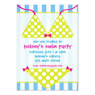 Bikini Swimsuit Swim Pool Party Invitations