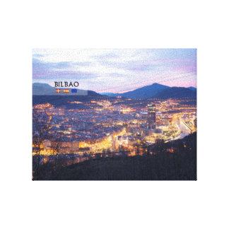 Bilbao Landscape AT night. Canvas Print