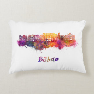 Bilbao skyline in watercolor accent pillow