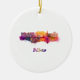 Bilbao skyline in watercolor ceramic ornament