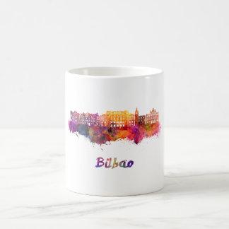 Bilbao skyline in watercolor coffee mug