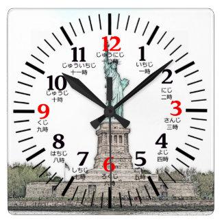 Bilingual English/Japanese Statue of Liberty Square Wall Clock