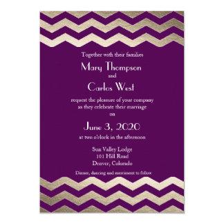 Bilingual Gold Shimmer Chevron Wedding Invitation