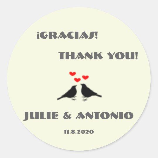 Bilingual Love Birds Wedding Thank You Sticker