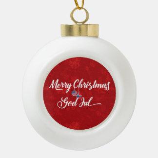 Bilingual Norwegian American Holiday Ornament
