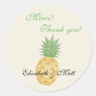 Bilingual Pineapple Wedding Thank You Sticker