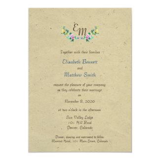 Bilingual Rustic Monogram Flower Wedding Invite