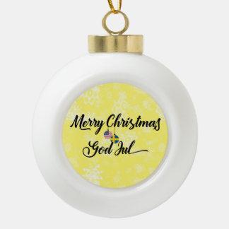 Bilingual Swedish American God Jul Ornament