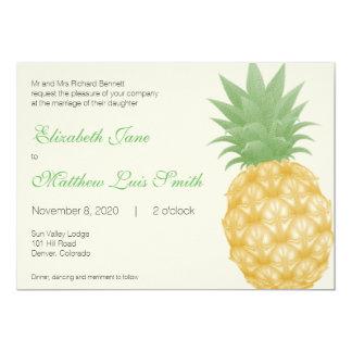Bilingual Tropical Pineapple Wedding Invitation