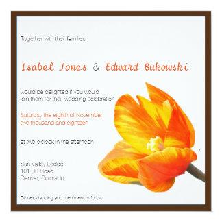 Bilingual Tulip Wedding Invitation Square