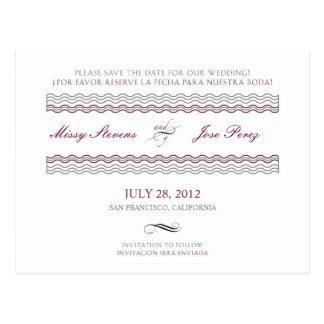 Bilingual Wedding Save The Date Postcard