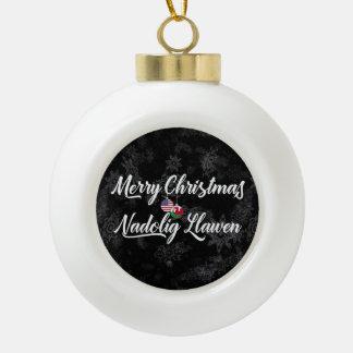 Bilingual Welsh American Holiday Ornament