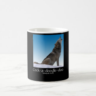 Bilingual Wolf Crowing Coffee Mug