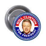 Bill Clinton For President 2 Inch Round Button
