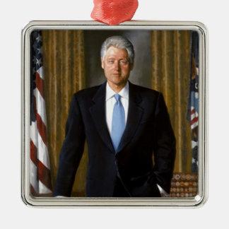 Bill Clinton Official White House Portrait Silver-Colored Square Ornament