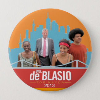 Bill de Blasio & Family NYC Mayor 2013 4 Inch Round Button