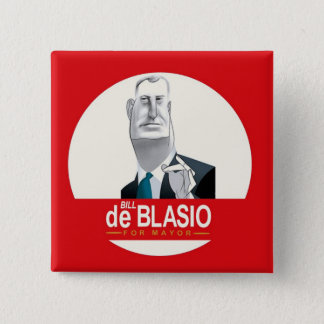 Bill de Blasio NYC Mayor 2013 2 Inch Square Button