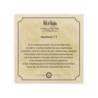 Bill of Rights - 6th Amendment rustic wall plaque Wood Canvas