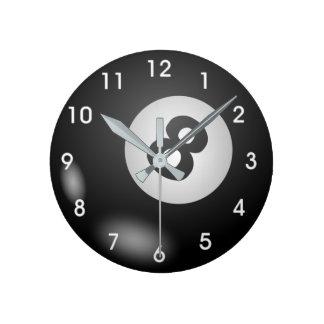 billards 8 ball round clock