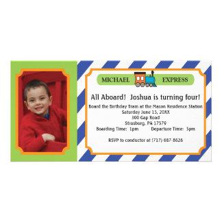 Billet de train de photo d'anniversaire de enfant carte avec photo