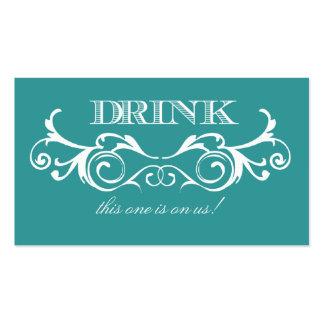 Billet vintage de boissons de mariage de turquoise carte de visite standard