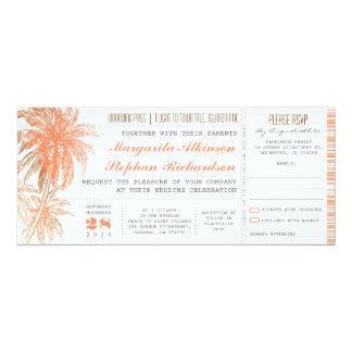 Billets tropicaux de mariage de destination carton d'invitation  10,16 cm x 23,49 cm