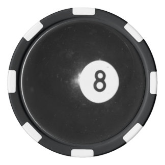 Billiard Ball #8 Poker Chips