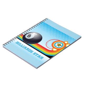 Billiard Ball and Rainbow Stripe BILLIARDS Star Spiral Note Book