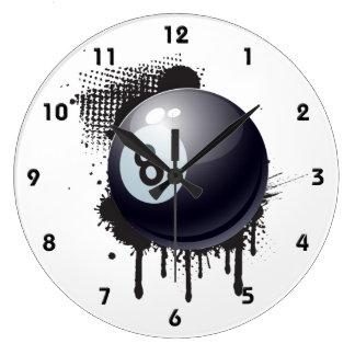 Billiard Ball on Abstract Black Splotch Large Clock