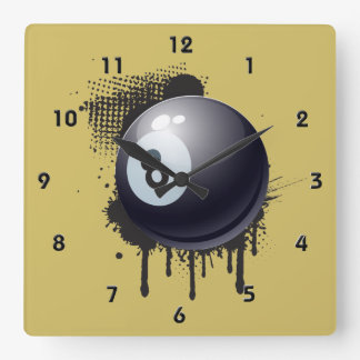 Billiard Ball on Abstract Black Splotch Square Wall Clock