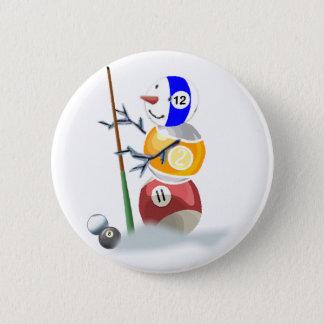 Billiard Ball Snowman Christmas 2 Inch Round Button
