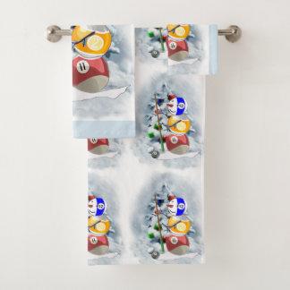 Billiard Ball Snowman Christmas Bath Towel Set