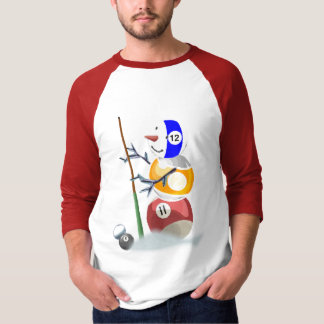 Billiard Ball Snowman Christmas T-Shirt