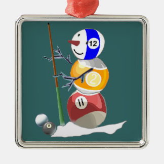 Billiard Ball Snowman Metal Ornament