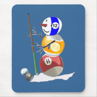 Billiard Ball Snowman Mouse Pad