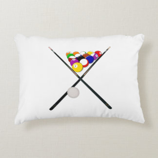Billiard Balls and Pool Cues Accent Pillow