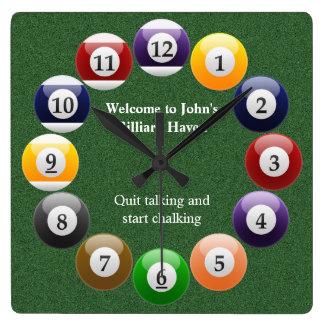Billiard Balls Shiny Colorful Pool Snooker Sports Clock