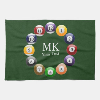 Billiard Balls Shiny Colorful Pool Snooker Sports Kitchen Towel