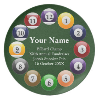 Billiard Balls Shiny Colorful Pool Snooker Sports Plates