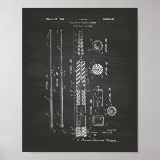 Billiard Cue Handle 1968 Patent Art - Chalkboard Poster