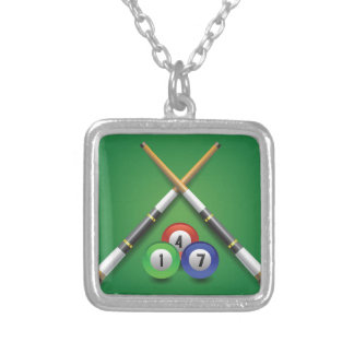 billiard label silver plated necklace