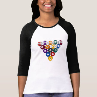 Billiard / Pool Balls - Ladies 3/4 Sleeve Raglan T-Shirt