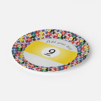 Billiard Pool Balls Stripe Number Nine 7 Inch Paper Plate
